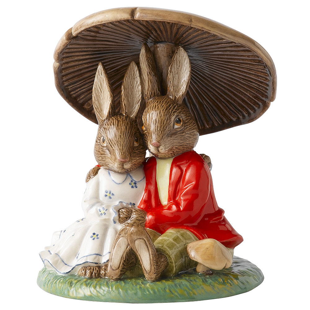 Cuddling Under the Mushroom - Royal Doulton Bunnykins