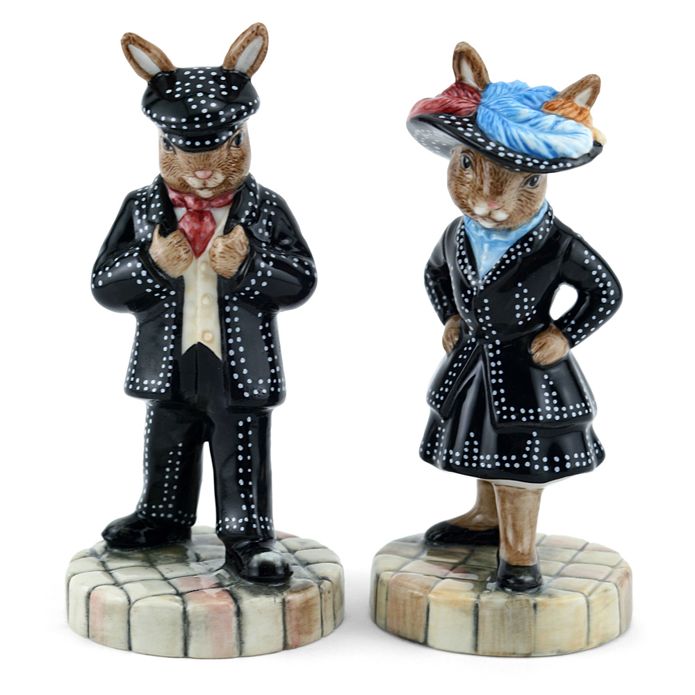 Pearly King DB411 & Pearly Queen DB412 - Royal Doulton Bunnykins