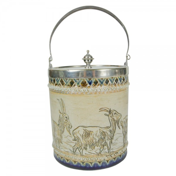 Doulton Lambeth Stoneware Biscuit Barrel with goat scene (Metal lid and handle) - Royal Doulton Lambeth Stoneware