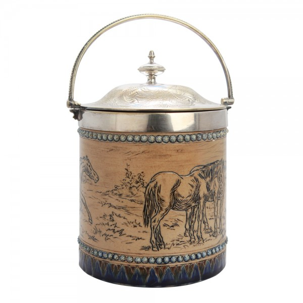 Doulton Lambeth Biscuit Barrel with Horse Scene (Silver hinged lid and handle) - Royal Doulton Lambeth Stoneware