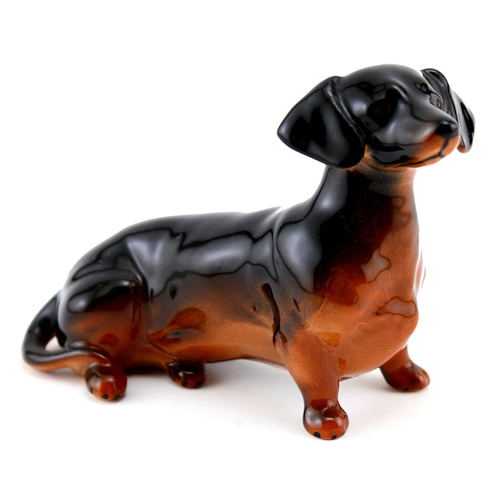 Dachshund Seated 1460, Black & Tan, Beswick - Beswick Animals
