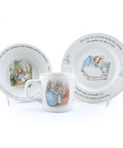 3 pc Wedgwood set - Bowl - Plate - & Cup - Beatrix Potter Figurine