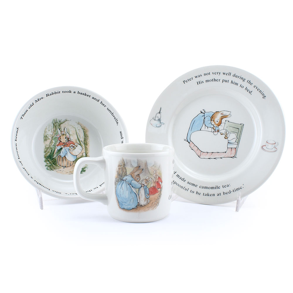 3 pc Wedgwood set - Bowl - Plate - & Cup - Beatrix Potter Figurine