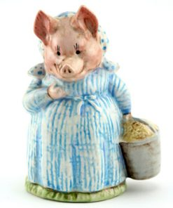Aunt Pettitoes - Gold Oval - Beatrix Potter Figurine