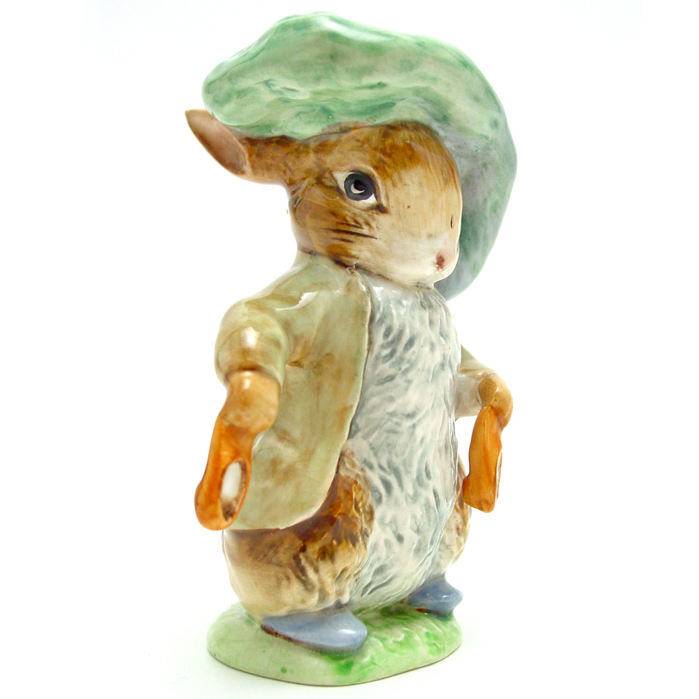 Benjamin Bunny (Ears Out/Shoes Out) - Gold Oval - Beatrix Potter Figurine