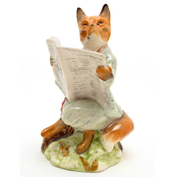 Foxy Reading Country News - Royal Albert - Beatrix Potter Figurine
