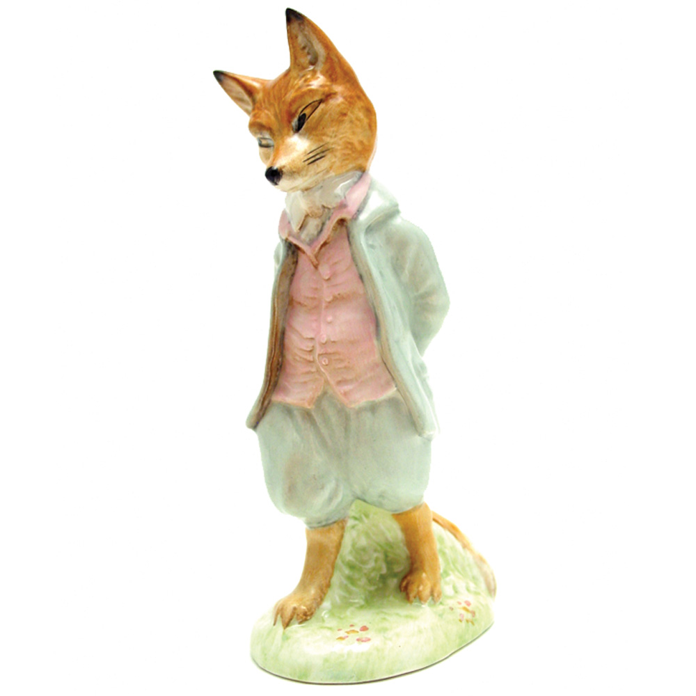 Foxy Whiskered Gentleman - Gold Oval - Beatrix Potter Figurine