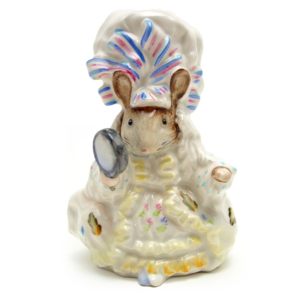Lady Mouse - Gold Oval - Beatrix Potter Figurine
