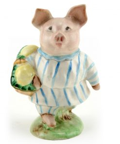 Little Pig Robinson (Striped Pajamas) - Gold Oval - Beatrix Potter Figurine