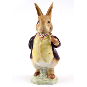 Mr. Benjamin Bunny (Pipe Out - Maroon Jacket) - Gold Oval - Beatrix Potter Figurine