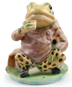 Mr. Jeremy Fisher (Spotted Legs) - Gold Oval - Beatrix Potter Figurine