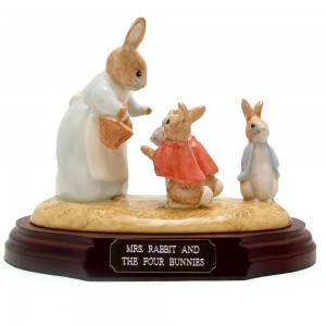 Mrs. Rabbit and Four Bunnies (Tableau) - Beatrix Potter Figurine