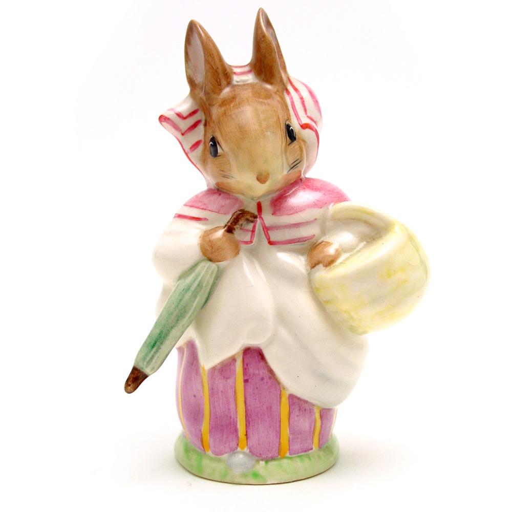 Mrs. Rabbit (Umbrella Out) - Gold Oval - Beatrix Potter Figurine
