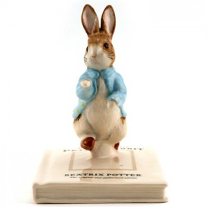 Peter on His Book - Beatrix Potter Figurine