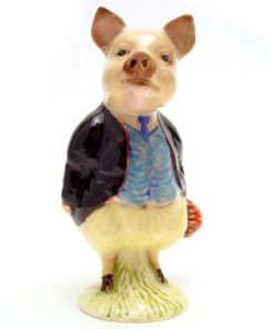 Pigling Bland (Maroon Jacket) - Gold Oval - Beatrix Potter Figurine