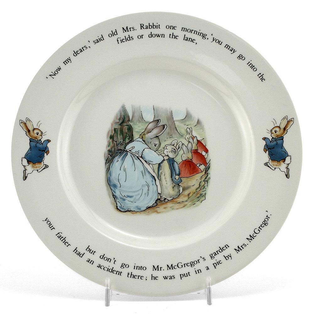 "Wedgwood Plate - 9.5"" Dia - Beatrix Potter Figurine"