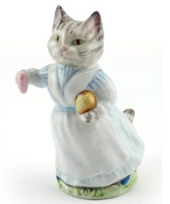 Tabitha Twitchit (Striped Top) - Gold Oval - Beatrix Potter Figurine