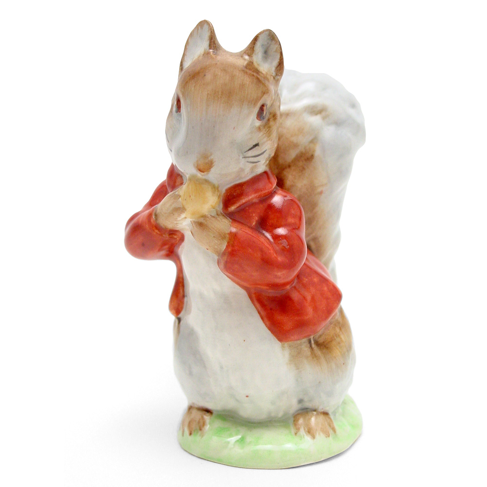 Timmy Tiptoes (Brown-Grey) - Gold Oval - Beatrix Potter Figurine