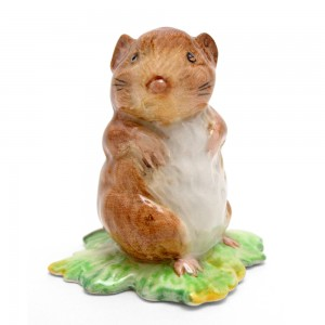 Timmy Willie From Johnny Town-Mouse - Gold Oval - Beatrix Potter Figurine
