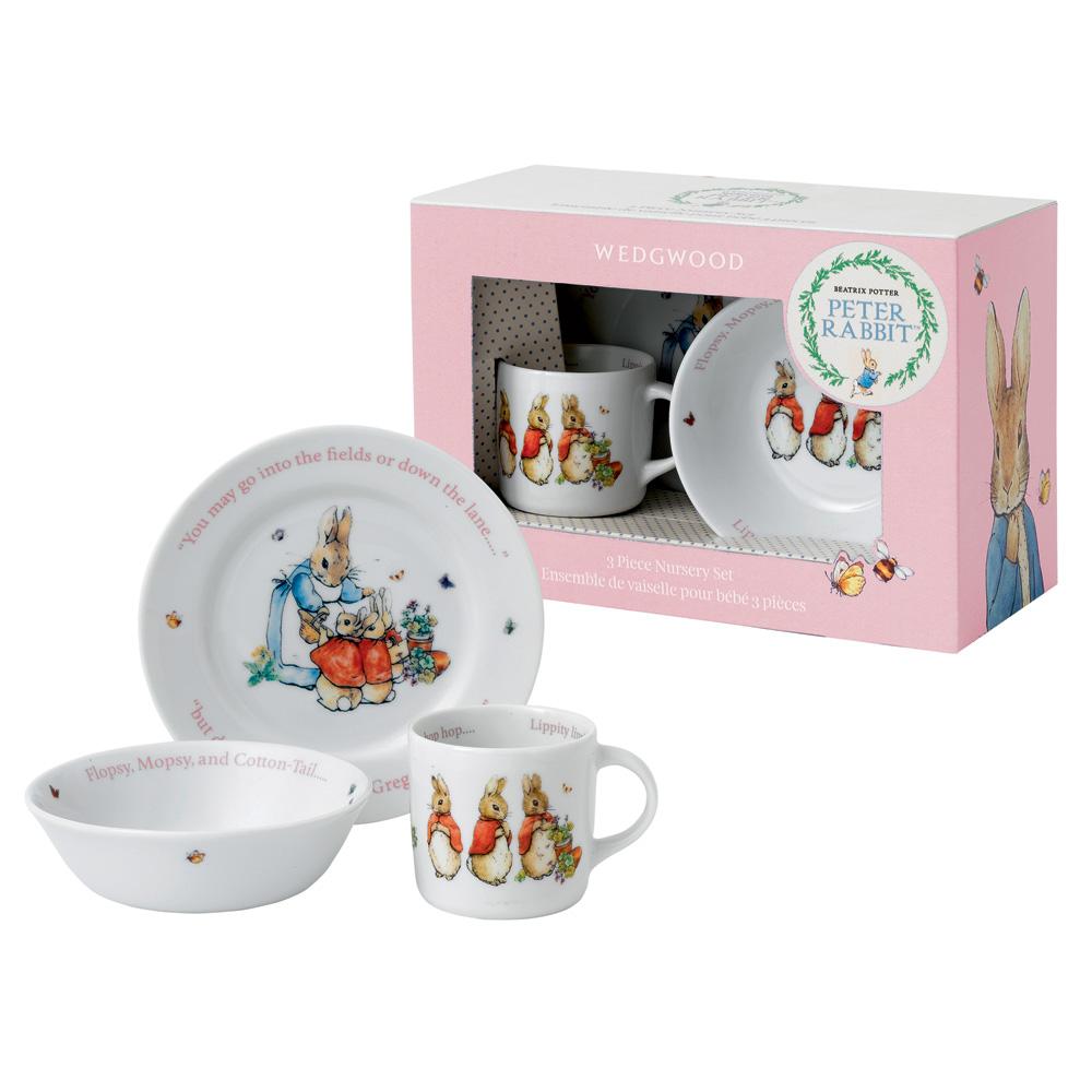 Wedgwood Flopsy, Mopsy & Cotton - 3pc Set - Beatrix Potter Nursery Set