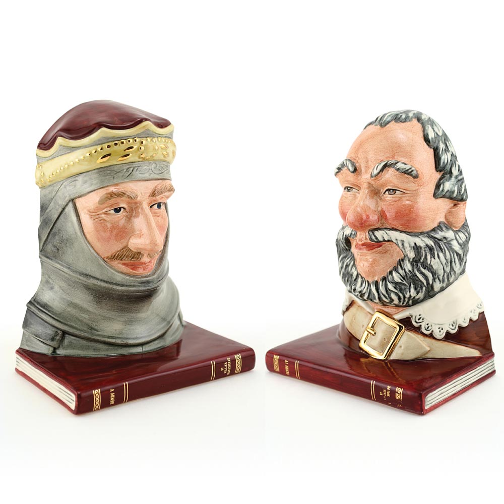 Falstaff D7089 and Henry V Pair D7088 - Bookends - Royal Doulton