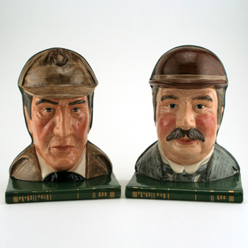 Sherlock Holmes D7038 and Dr. Watson D7039 - Bookends - Royal Doulton