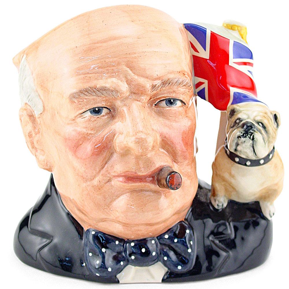 Winston Churchill D6907 (Union Jack and Bulldog Handle) - Large - Royal Doulton Character Jug