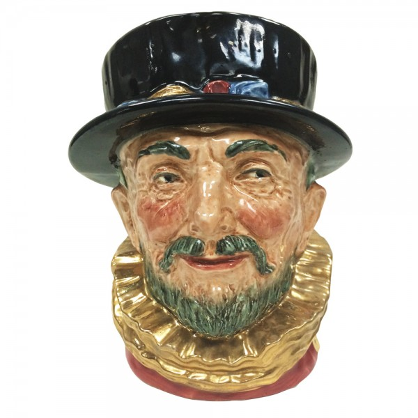 """Beefeater """"GR"""" with Gold Gilded Handle - Large - Royal Doulton Character Jug"""