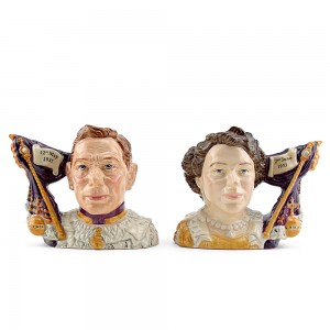 King George VI D7167 and Queen Elizabeth II Pair D7168 - Small - Royal Doulton Character Jug