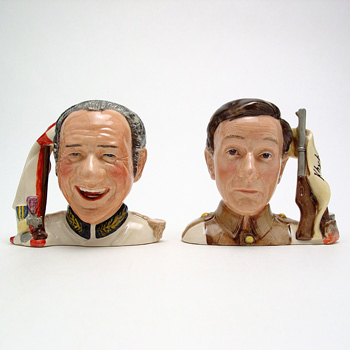 Sid James and Charles Hawtrey D7162 & D7163 - Small - Royal Doulton Character Jug