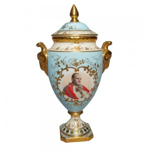 Hand Painted Lidded Pedestal Vase - Pope John Paul II - Coalport Decor