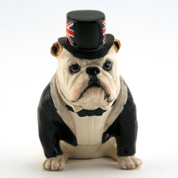 British Bulldog DA228 (White With Black Top Hat & Jacket) - Royal Doulton Dogs