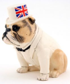 British Bulldog DA228 (Tan With White Top Hat) - Royal Doulton Dogs