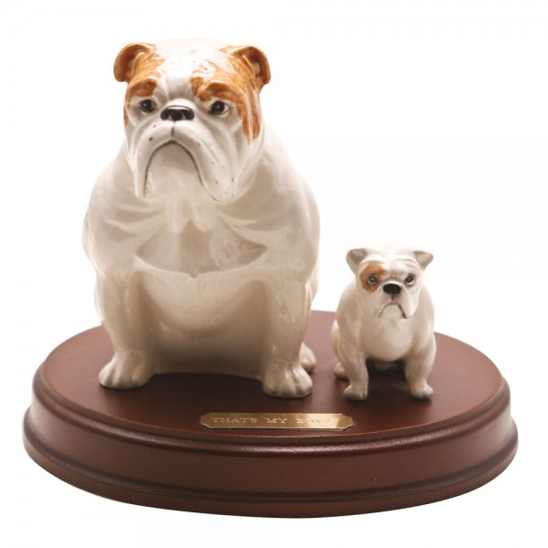 Bulldogs Seated Thats My Boy DA222 with puppy - Royal Doulton Dogs