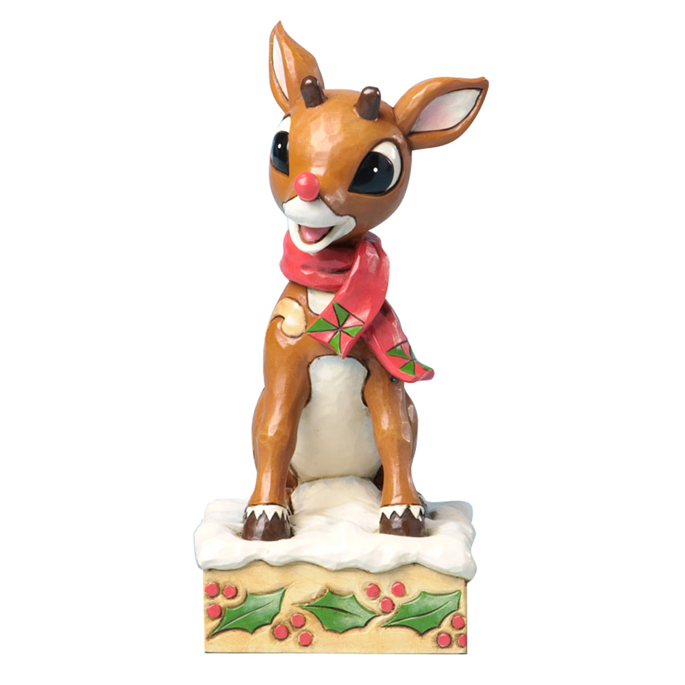 Rudolph The Red-Nosed Reindeer with Blinking Nose (Battery operated & included) - Jim Shore Figures