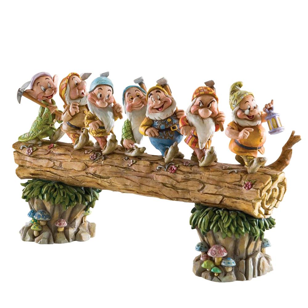 "Seven Dwarfs on Log - ""Homeward Bound"" (Snow White) - Jim Shore Figures"