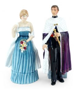 Prince of Wales HN2883 and Lady Diana Spencer HN2885 - Royal Doulton Figurine