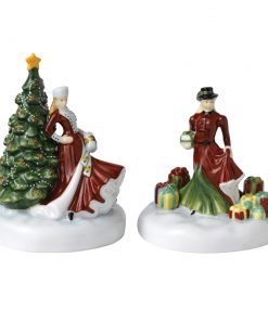 Christmas Day and Gift - 2pc Miniature Christmas Figure Set - Royal Doulton Figurine