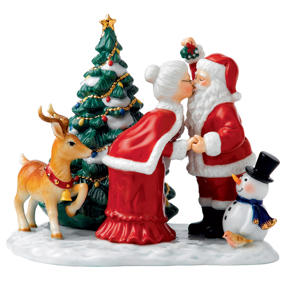 A Christmas Kiss HN5658 (2013 Miniature Tableau) - From the Holiday Traditions Collection - Royal Doulton Figurine