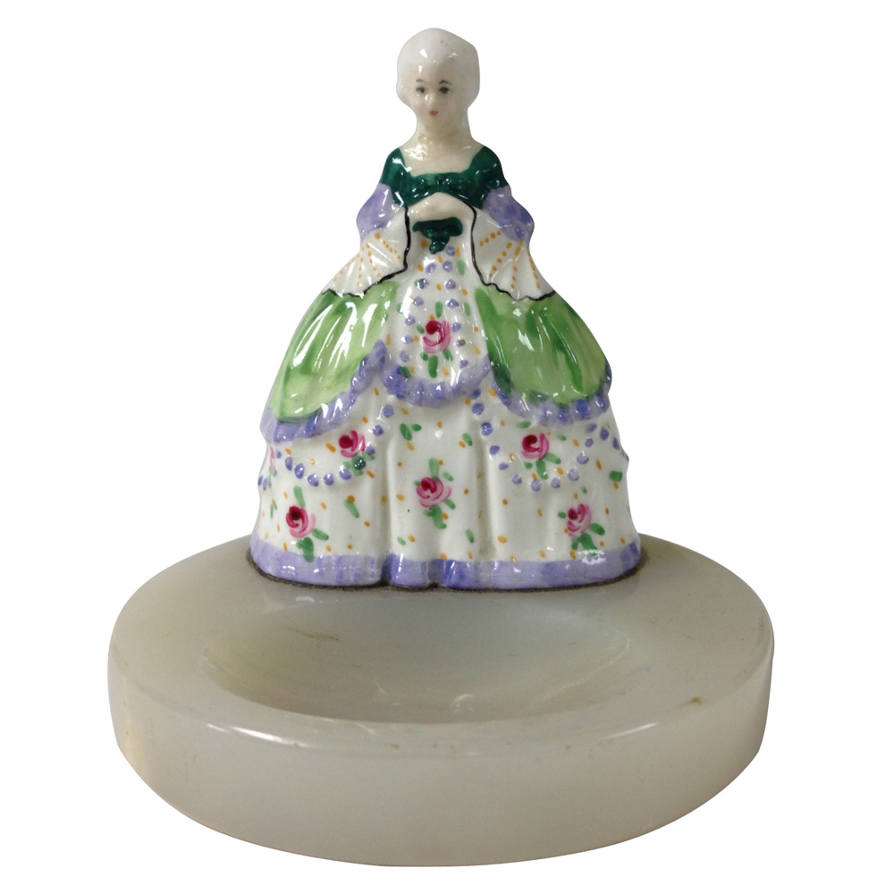 Crinoline Lady Miniature Figure on round tray - Royal Doulton Figurine