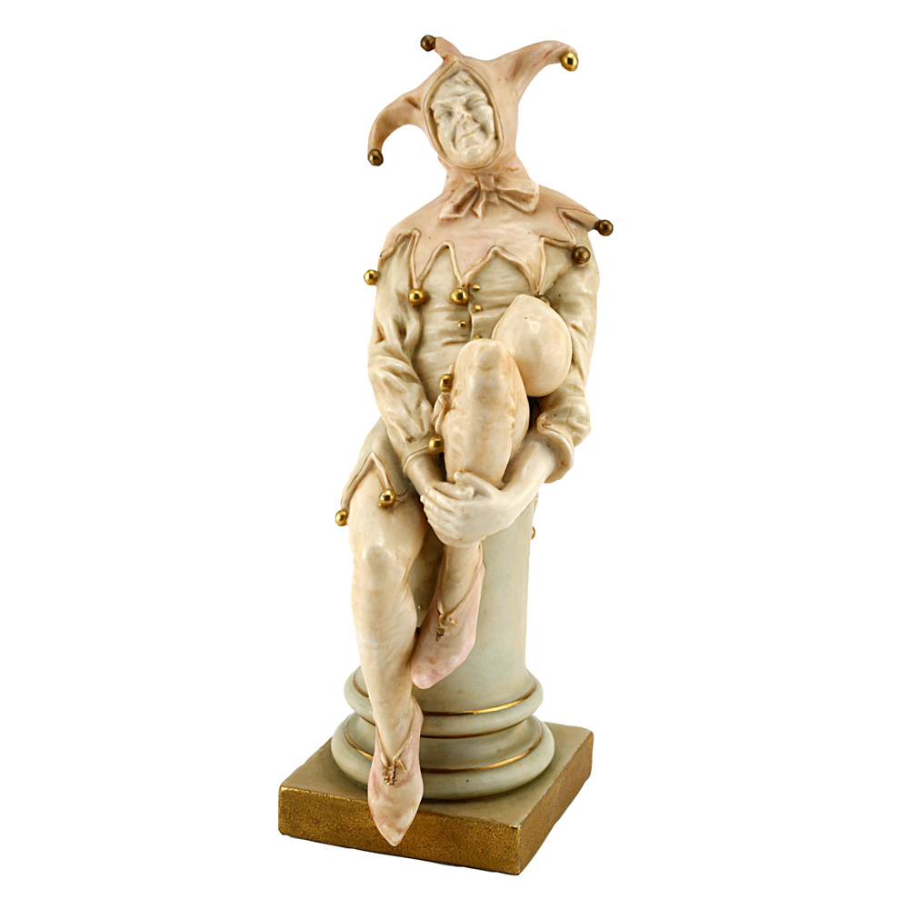 Vellum Jester seated on column  - Royal Doulton Figurine