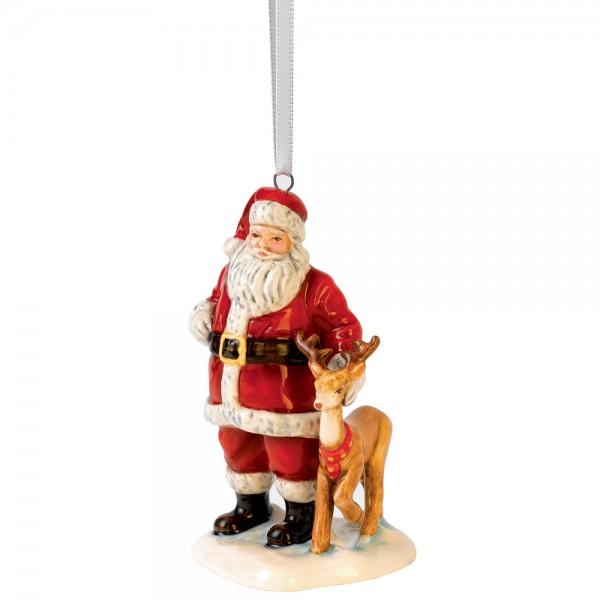 Santa with Reindeer HN5707 - Royal Doulton Ornament Figurine