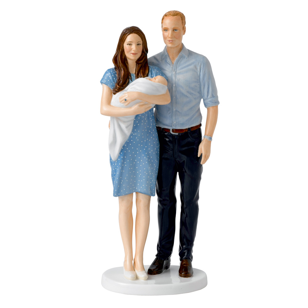 "The Royal Baby Figure ""Prince George"" With parents William and Kate HN5716 - Royal Doulton Figurine"