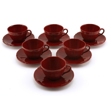 Cup & Saucer 12 pc. Set - Royal Doulton Flambe