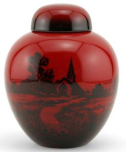 Ginger Jar With Church Scene - Royal Doulton Flambe