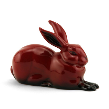 Hare Crouching HN2592 (Ears Up) - Royal Doulton Flambe