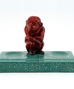 Monkey Seated on Green Base - Royal Doulton Flambe