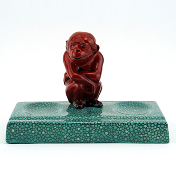 Monkey Seated on Green Base - Royal Doulton Flambe