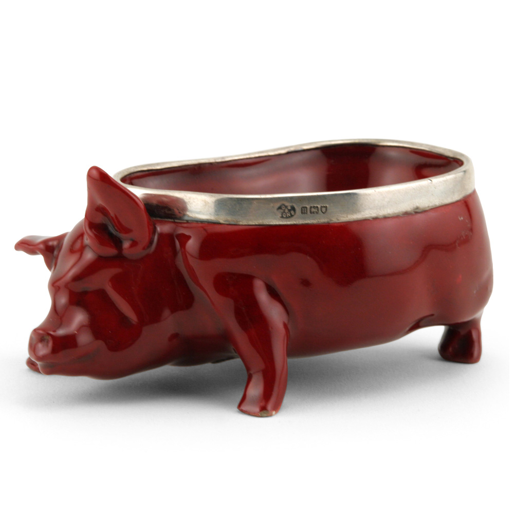 Pig Bowl with Silver Rim - Royal Doulton Flambe