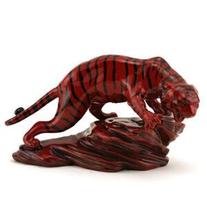 Prestige Tiger on Rock BA71 - Royal Doulton Flambe